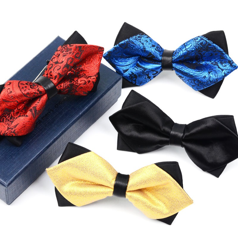 2020 Brand New Fashion Men's Bow Ties Double Fabric Pattern Bowtie Banquet Wedding Formal Ceremony Butterfly Tie With Gift Box