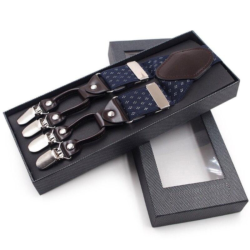 Men Jacquard Y-Shape Suspender Non-Slip 6 Clips Elastic Adjustable Pant Braces