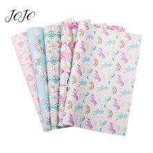 JOJO BOWS 22*30cm 1pc Faux Synthetic Leather Fabric Unicorn Printed Sheet For Bows Apparel Sewing Home Decoration DIY Supplies jojo bows 22 30cm 1pc synthetic leather fabric for crafts mermaid printed faux sheet for needlework bag apparel sewing materials