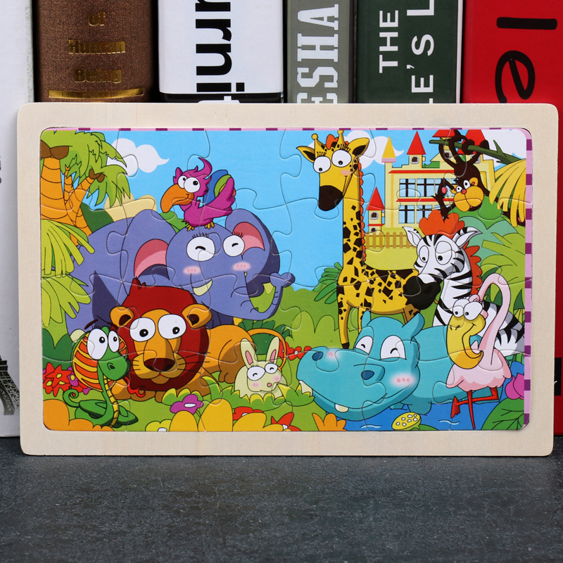 24 Slice Wood Puzzles Children Adults Vehicle Puzzles Wooden Toys Learning Education Environmental Assemble Educational Games 13