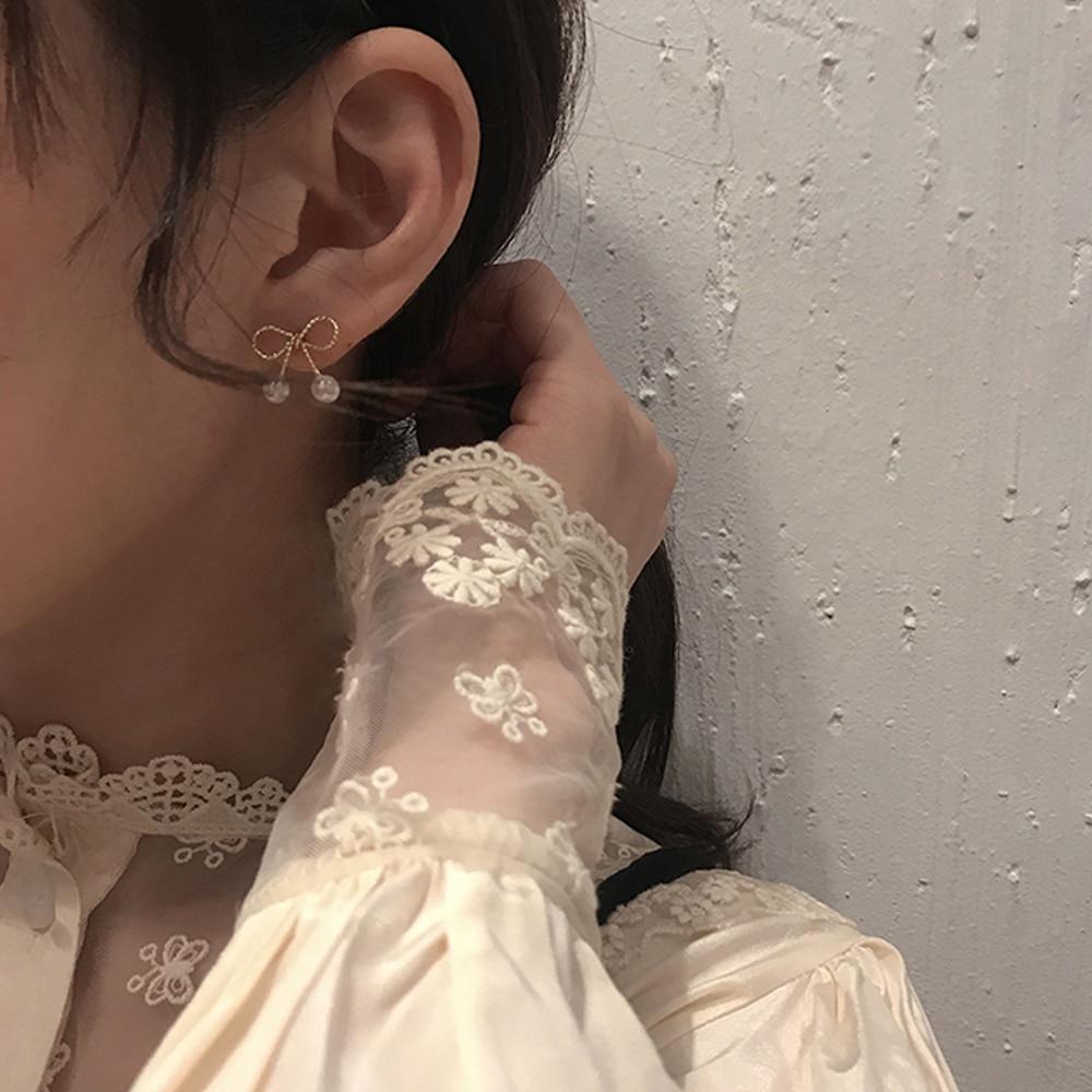 2020 New Earring Charm Vintage Metal Bow Pearl Stud Earring Prevent allergy For Women Ear Ring Wedding Jewelery