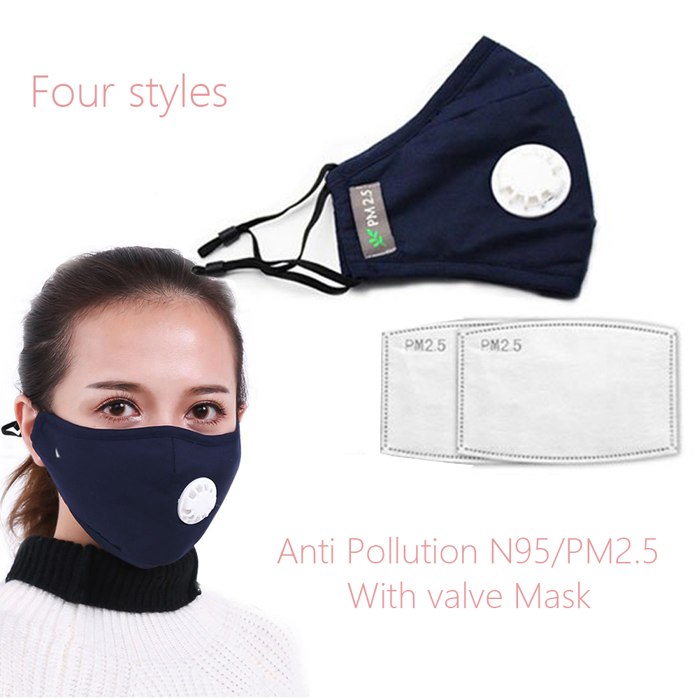 Mask With Valv Anti Pollution KN95/PM2.5 Mask Dust Respirator Masks Mask With Breathing Valve Cotton Unisex Mouth Muffle Allergi