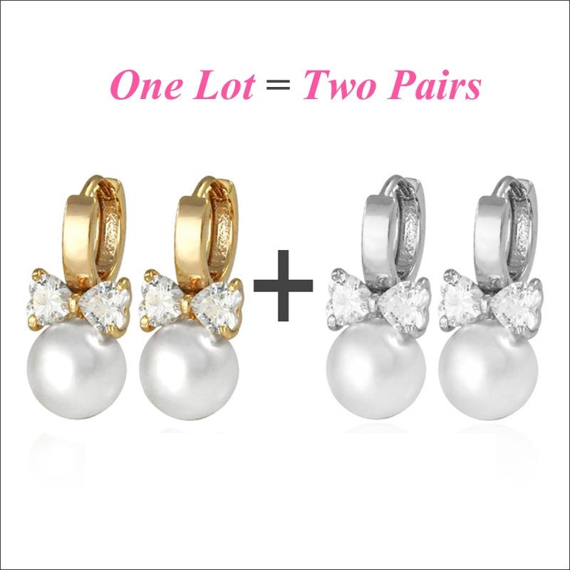 2 Paar / Lot Koreanische echte Perlen Ohrringe Gold Creolen für Frauen Brinco Pendientes Perlas Mädchen Kostüm Perlenschmuck E0310
