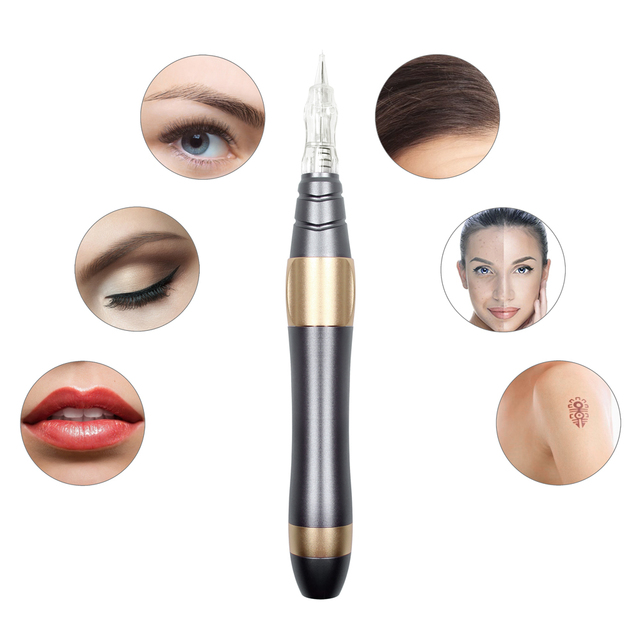 Newest Professional Tattoo Machine Typewriter For Permanent Makeup Eyebrows Microblading Makeup Kit With Tatto Cartridges Needle