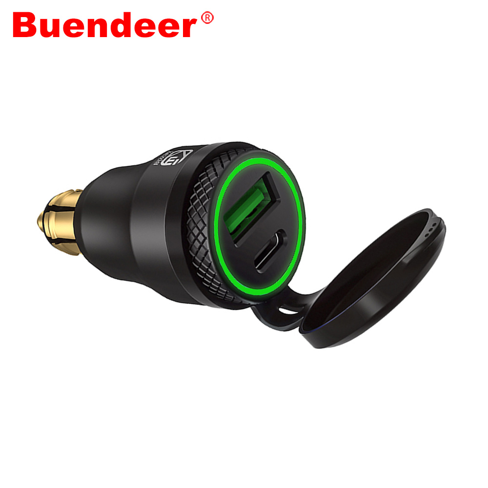 Buendeer Q-3.0 Charger Motorcycle Powerlet Adapter Din/hella-Socket Portable USB