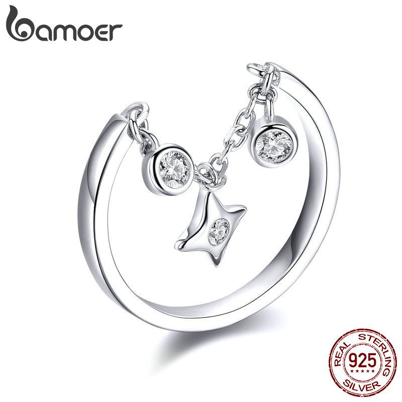 BAMOER Silver Rings 925 Stelring Silver Chain Ring For Women Clear CZ Star Ajudtable Rings 2019 New Female Jewelry Gifts SCR408