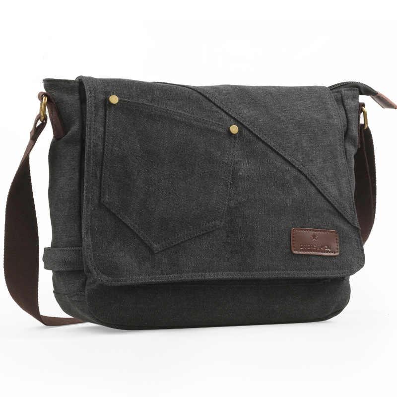 MLMHLMR Canvas Mens Shoulder Bag Retro Leisure Travel Handbag Multifunction Large Capacity Bag Crossbody Bag Brown 34x10x25cm Briefcase