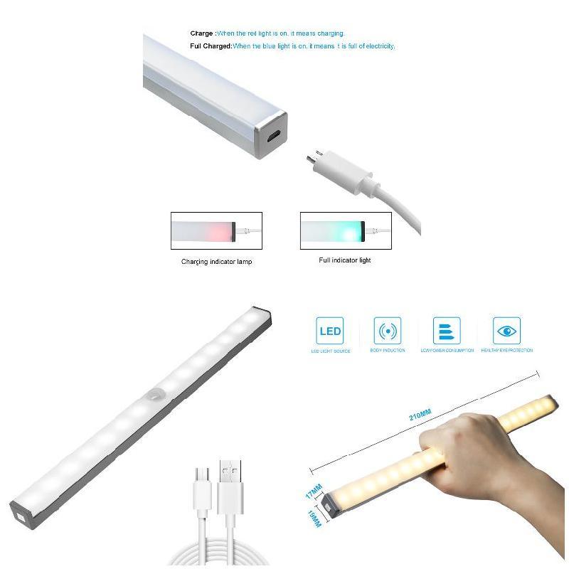 LED Human Induction Under Cabinet Light USB Charging Wardrobe Counter Lamp I88