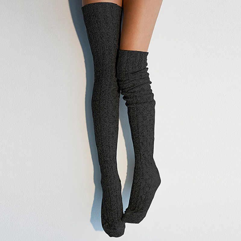 ผู้หญิงมากกว่าเข่าถุงเท้าแฟชั่นหญิงเซ็กซี่ถุงน่องยาว Boot ถักต้นขาสูงสีเทาสีดำ