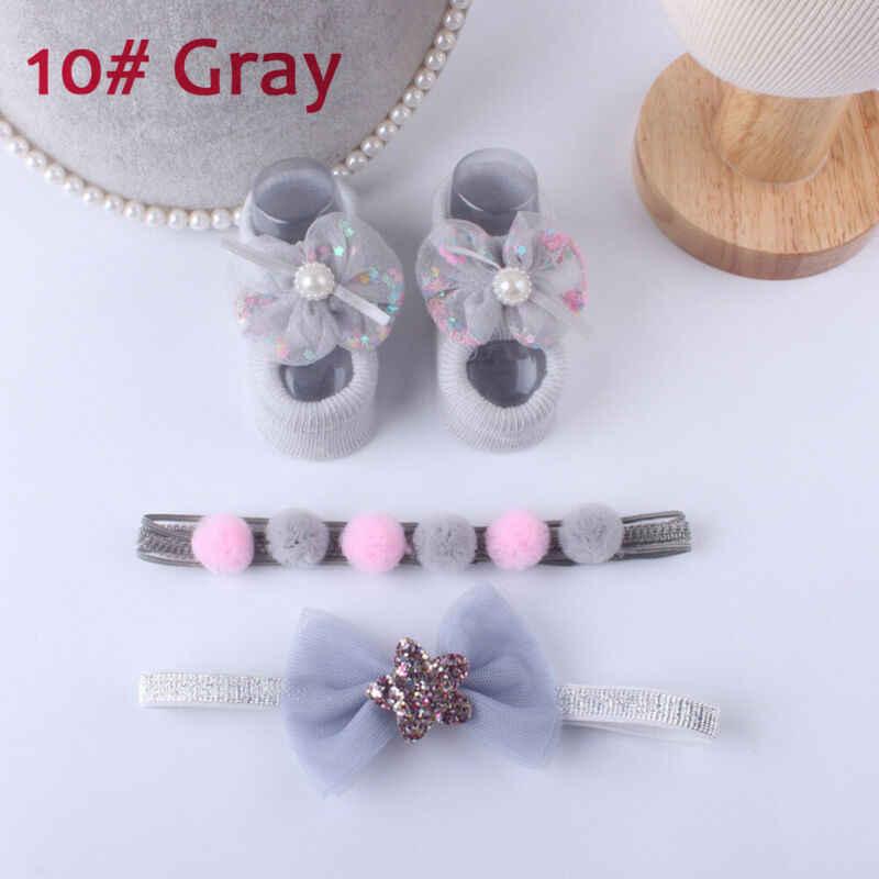 Princess Baby Girl Cotton Sock Newborn Baby Lace Flower Socks Anti-slip Sock Shoes&Headband Floor Slipper Socks
