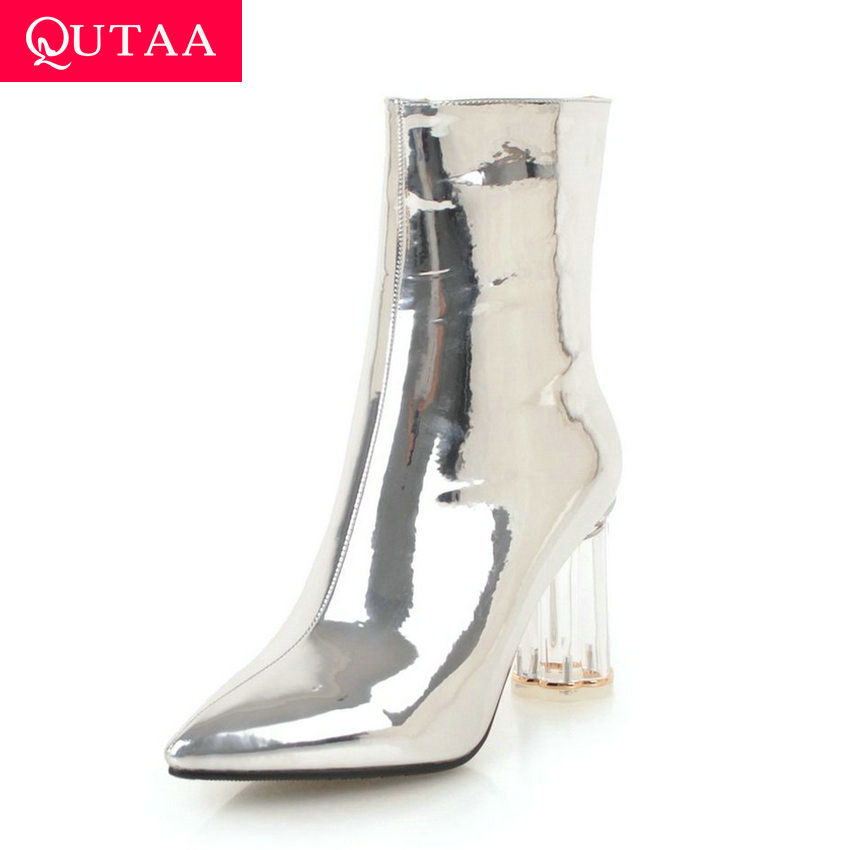 QUTAA 2020 Sexy Pointed Toe Zipper Ankle Boots PU Patent Leather Fashion Square High Heel Concise Women Shoes Big Size 34-43