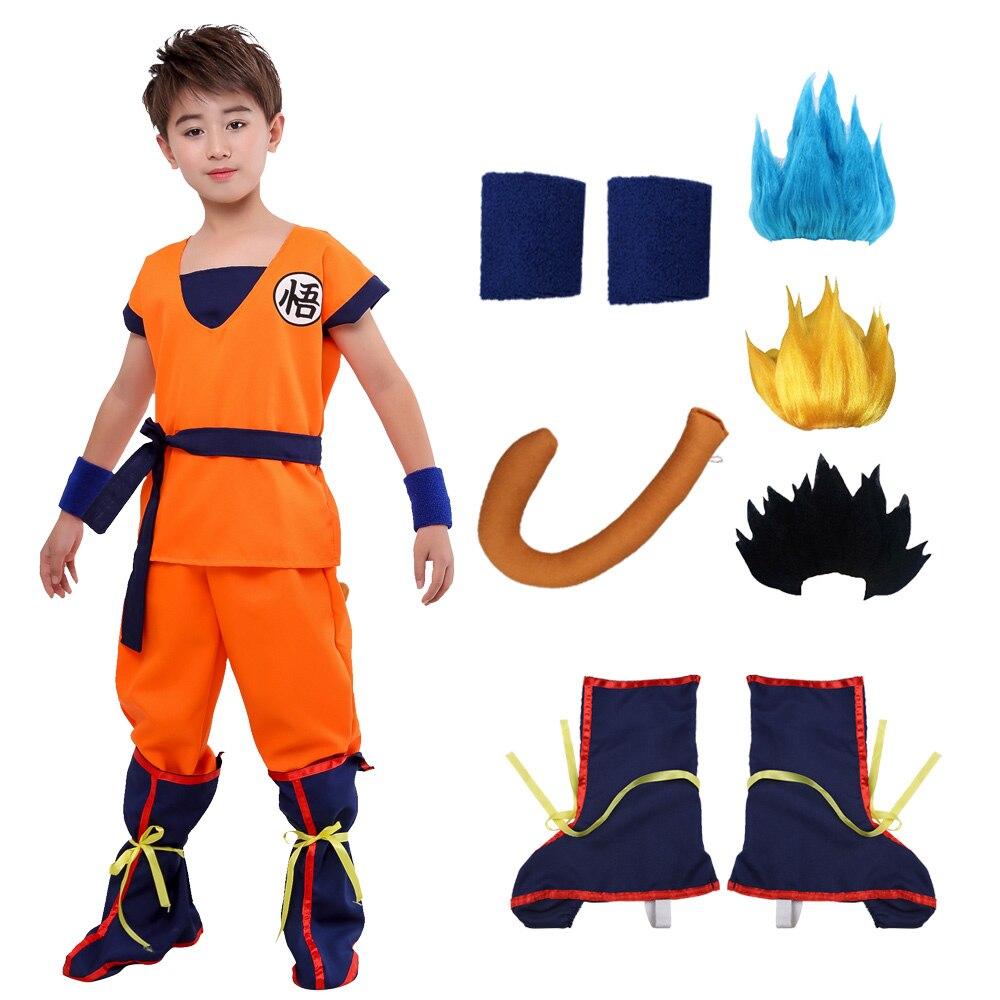 Рождественский синий парик Sun Goku Аниме Косплей Костюм маскарадные костюмы жилет топы брюки пояс хвост запястье парик для взрослых детей на ...
