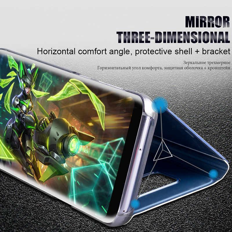 Lustro inteligentne etui na Samsung Galaxy S8 Plus etui luksusowe, odporne na wstrząsy otwierane etui ze skóry pu do Samsung S8 Plus Galaxy Coque