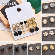 H:HYDE 9 Pairs/SET Pearls Crystal Flower Leaves Stud Earrings Set For Women Elegant Black Round Fashion Jewelry