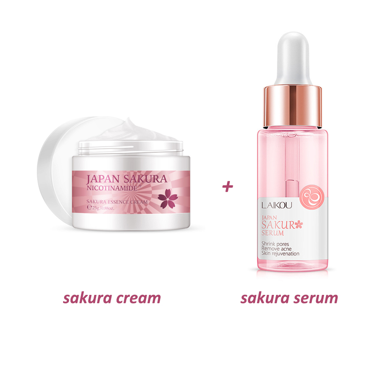 Набор для ухода за кожей Sakura, увлажняющая вечерняя Сыворотка для тонуса кожи лица, Антивозрастная эссенция для морщин и лица, питательный водоотталкивающий крем