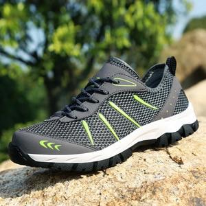 Image 2 - גברים נעלי ספורט לנשימה נעליים יומיומיות גברים Mesh שרוכים נוח חיצוני הליכה הנעלה אופנה ספורט גברים נעליים בתוספת גודל 48