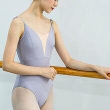 Leotardo de Ballet para mujer, traje de Yoga Aerialist, para práctica de baile, con escote en V profundo, azul, para gimnasia, para adultos, 4 colores