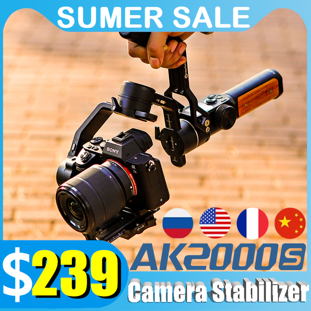 FeiyuTech AK2000S Camera Stabilizer 3 Axis Gimbal DSLR Mirrorless Handheld Video Gimbal Fit For Canon Sony Nikon Camera AK2000C 1