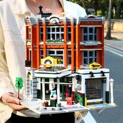 Новый угловой гараж Совместимость LGSET Creator Expert 10264 IepinSet 15042 конструкторных блоков, Детские кубики фигурки Обучающие игрушки подарки