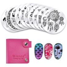 10pcs/Set Nail Stamping Plates Set Stamper Scraper Nail Art Polish Stamp Plastic DIY Nail Art Template Set Manicure Nail Tools