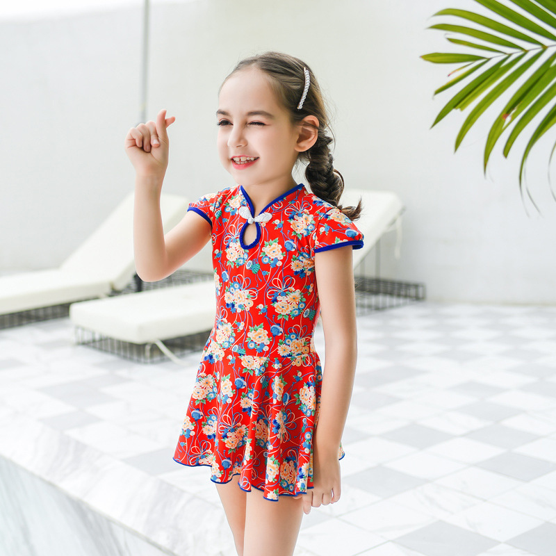 2019 New Style Hot Sales KID'S Swimwear Dress-Floral Retro National Wind Boxer Hipster GIRL'S Swimsuit