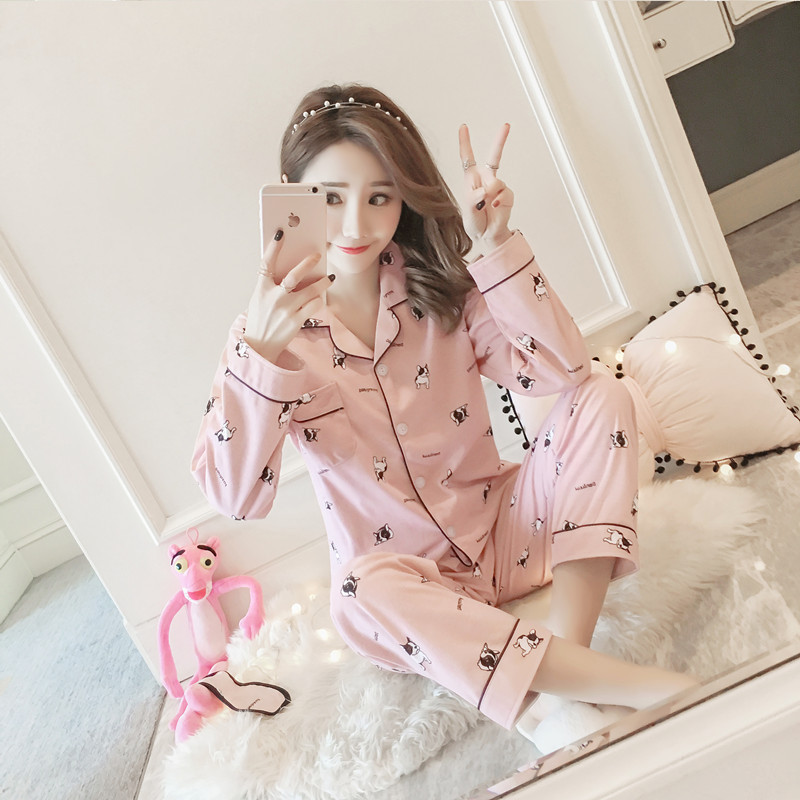 888 # Series Autumn Long Sleeve Pajamas Less Women's Cute Tracksuit Double-Sided Qmilch French Bulldog