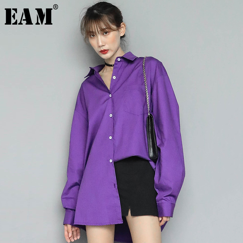 [EAM] Women Purple Pleated Split Big Size Blouse New Lapel Long Lantern Sleeve Loose Fit Shirt Fashion Spring Autumn 2020 1N531