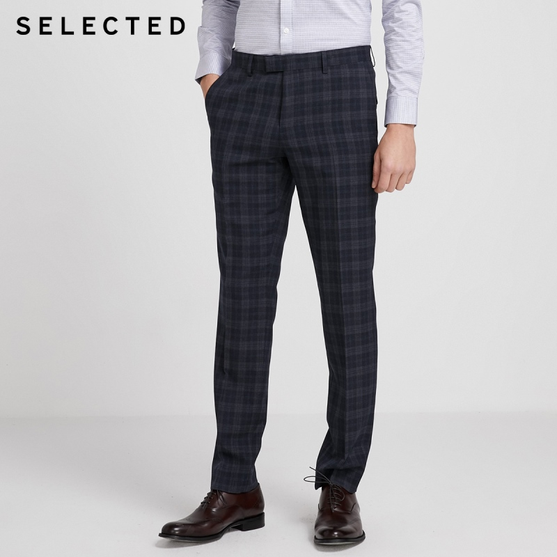 SELECTED Men's Slim Fit Checked Business Casual Suit Pants SIG 42016A501