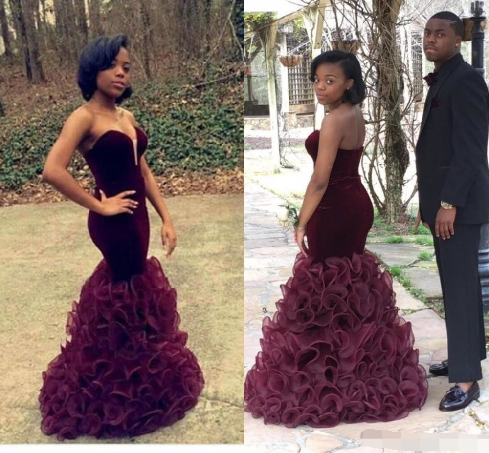 2019 Evening Dress 2019 Unique Prom Dresses Sweetheart Strapless Maroon Ruffles Organza Skirt Mermaid Formal Dress Evening Gown