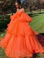 Orange Prom Dresses 2019 Off the Shoulder Big Sleeves Tiered Elegant Ball Gown African Evening Wear Vestidos robe de soiree gala