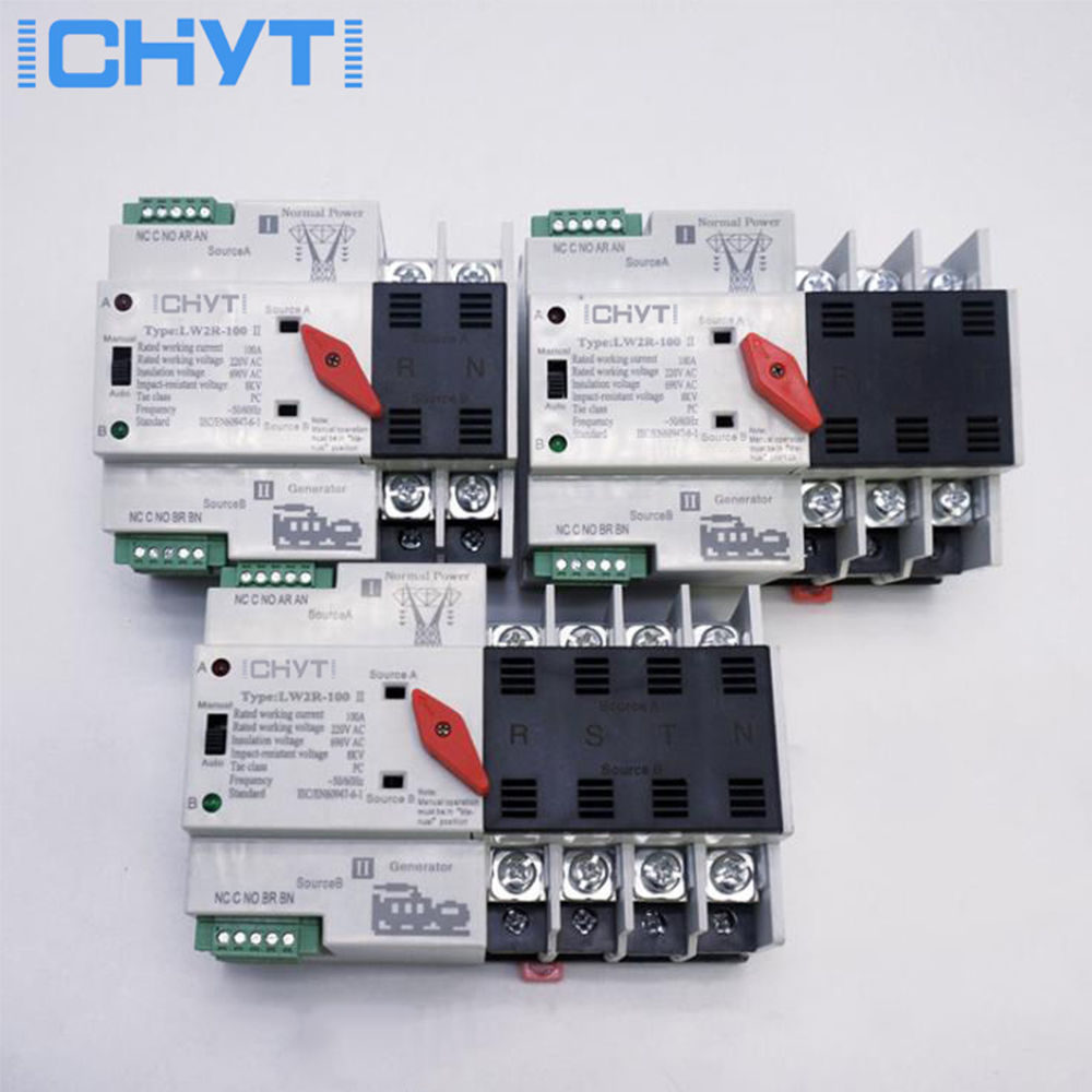 ICHTYI LW2R-2P/3P/4P 100A 220V Mini <font><b>ATS</b></font> Automatic Transfer <font><b>Switch</b></font> Electrical Selector <font><b>Switches</b></font> Dual Power <font><b>Switch</b></font> image