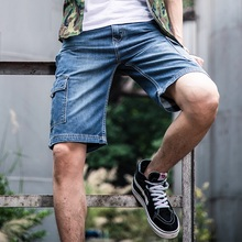 New Mens Denim Cargo Shorts Plus Size 42 44 46 48 Bermuda Masculina Jeans Male Fashion Casual Baggy Mens Shorts Cotton Baggy