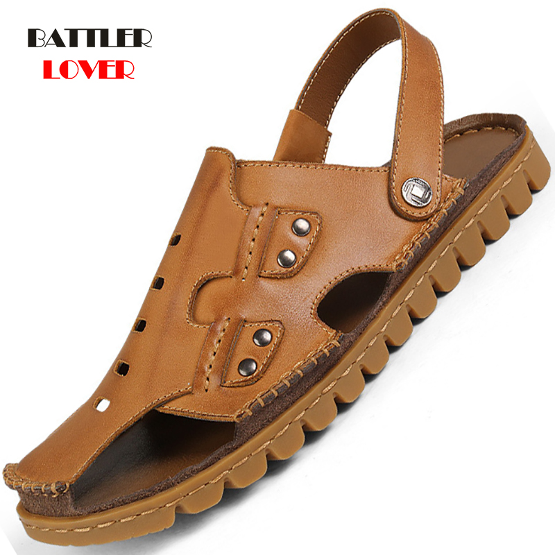 Summer Genuine Cow Leather Outdoor Shoes Men Sandals Handmade Classic For Male Soft Rubber Walking Beach Sandalias Sandal Slides