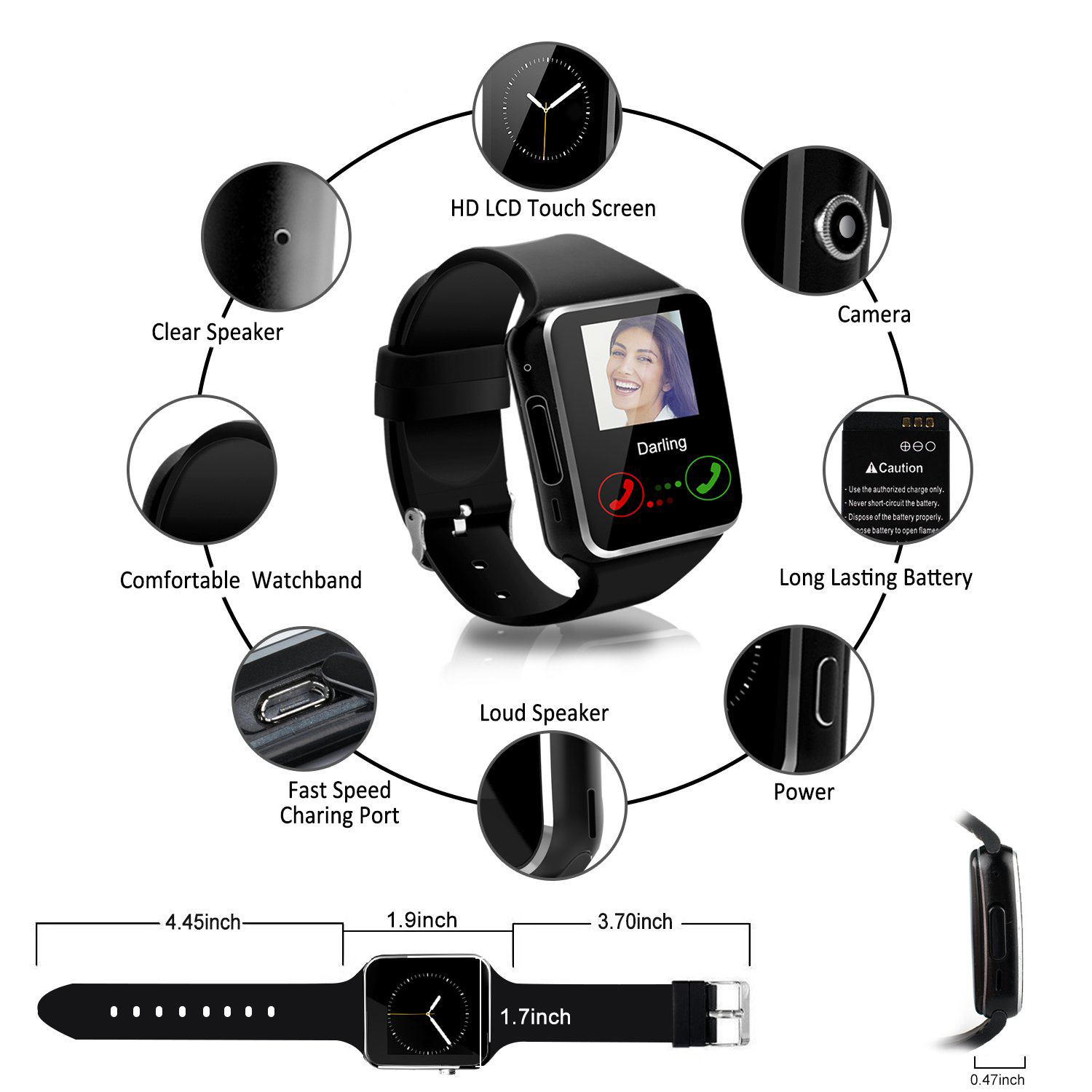 Bluetooth-Watch Touch-Screen-Support Smart-Camera Whatsapp with SIM Tf-Card X6 for iPhone