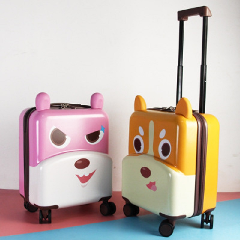 Travel Tale Stylish Cute Pet 17 Inch Cartoon 3D Boarding PC Suitable For Children Rolling Luggage Spinner Brand Travel Suitcase
