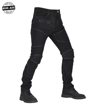 IRON JIA'S Men Motorcycle Pants Motocross Motorbike Protective Gear With Span+Knee Pads protection Moto Riding Jeans Trousers four seasons riding tribe motorcycle pants with knee hip pad moto motocross trousers body armor m l xl 2xl 3xl 4xl