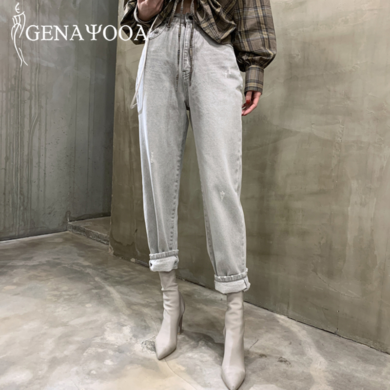 Genayooa Korean Jeans Woman High Waist Mom Jeans Loose Casual Light Blue Denim Pants Boyfriend Jeans For Women 2020 Summer Hot