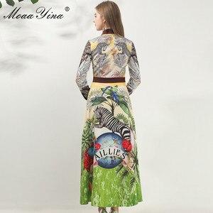 Image 5 - MoaaYina robe de créateur de mode printemps automne femmes robe à manches longues Animal imprimé fleuri Vintage Maxi robes