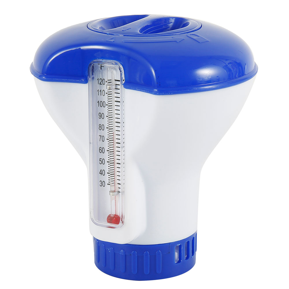 Ha649b757aa0f464593e32b73507150d9e - Hot sale Floating Chlorine And Bromine Tabs Dispenser With Thermometer Swimming Pool Floating Chemical Chlorine Dispenser
