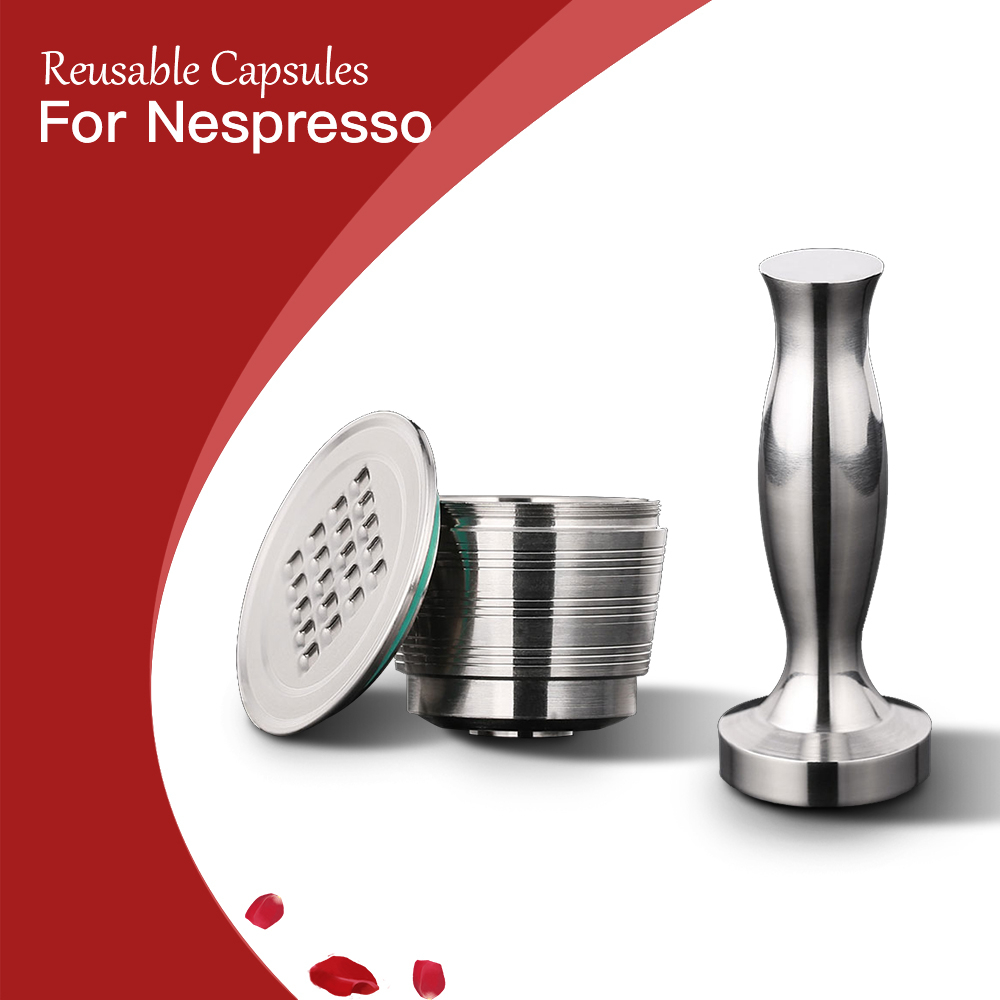 Stainless Steel Nespresso Refillable Coffee Capsule Tamper Reusable Cafe Pod Machine Accessories Kitchen Business Christmas Gift