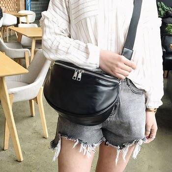Women Men Black PU Leather Waist Pack Package Chest Bags Ladies Travel Bag Zipper Functional Money Belt фото