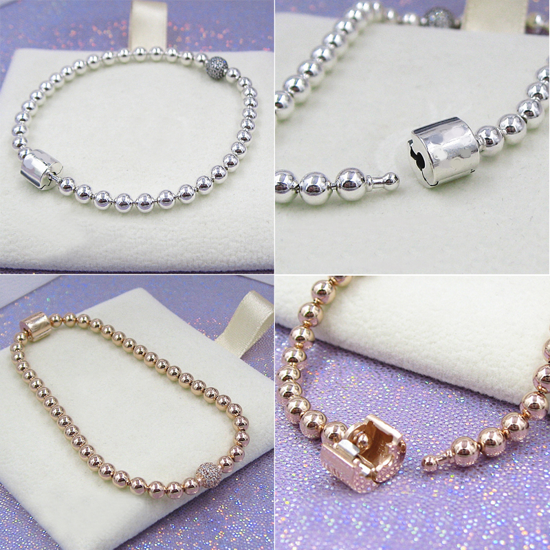 LISM[New] 100% 925 punk style autumn new wedding gift party 588342CZ beadwork and peg bracelet 598342CZ free delivery