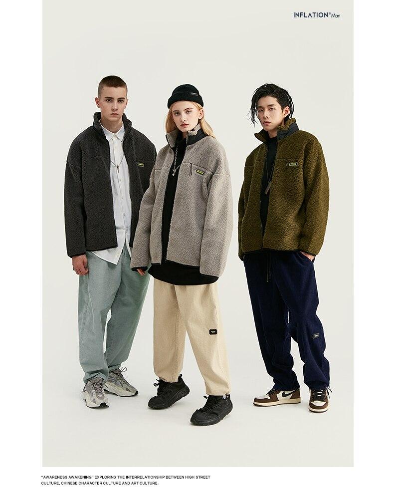 INFLATION Design Mens Winter Corduroy Jogger Pants Pure Color Loose Overalls Men Jogger Corduroy Pants Elastic Waist 93345W 3