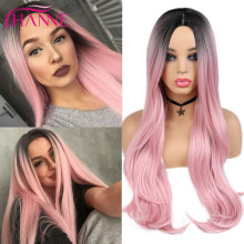 HANNE Synthetic Long Natural Wave Wigs Black to pink Ombre Wig For White or Black Womens Party Or Cosplay
