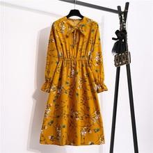 Women Casual Spring Autumn Dress Korean Style Vintage Floral Printed Shirt Dress Long Sleeve Elegant Bow Midi Summer Vestidos