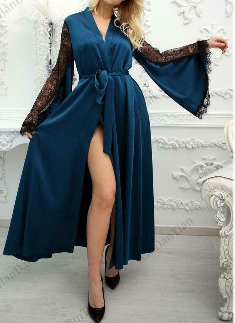 2021 Women's Luxury Long Silk Boudoir Satin Robe Lace Robe with Floor Length Long Kimono Robe