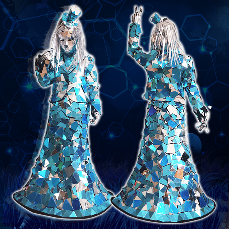 New Dance Costume Women Mirror Dress Six Pieces Set GoGo Rave Festival Outfit Stage Stage Perfromance Mirror Costume VDB919