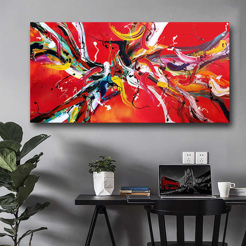 SELFLESSLY Pop Art Red Line Canvas Print Abstract Painting Wall Art Pictures For Living Room Modern Pictures Drop shipping