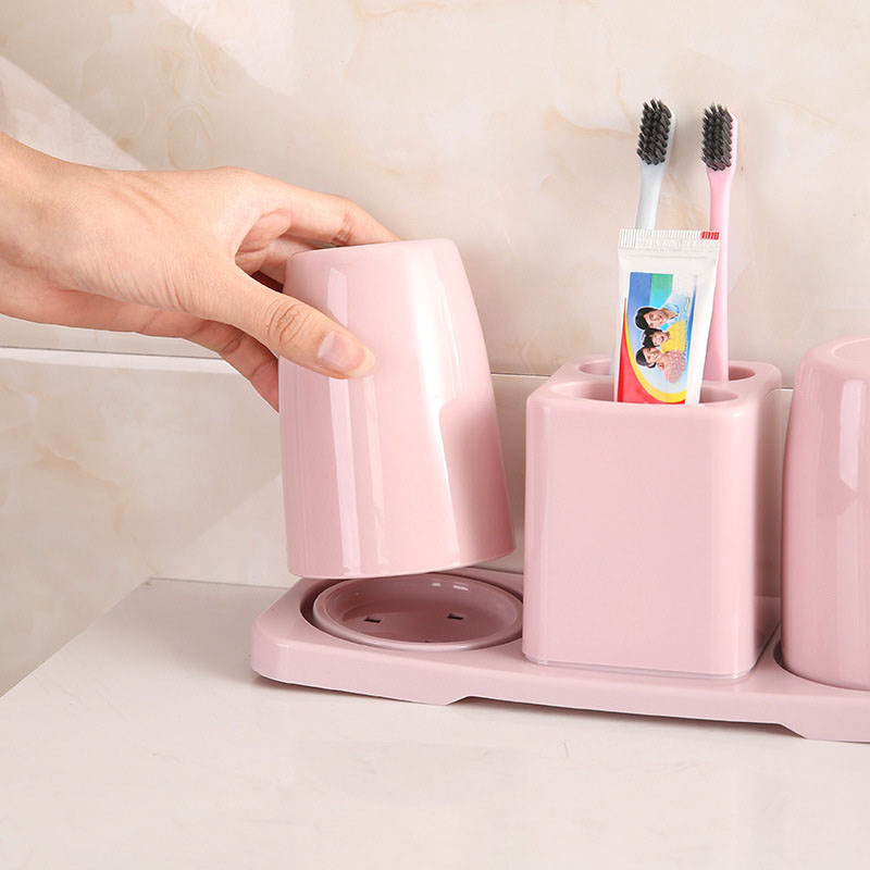 Two-piece toothbrush holder bathroom wash set Creative compartment couple toothpaste holder double cup toothbrush holder image