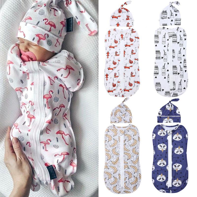 2Pcs Infant Baby Cartoon Printed Blanket Soft Plain Swaddle Muslin Wrap Swaddling Newborn Baby Zipper Cotton Sleeping Bag+Hat